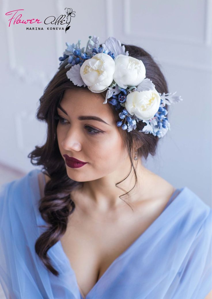 """Купить Венок на голову """"Frozen"""" Ободок с цветами. Цветы из шелка. - голубой, венок на голову"""