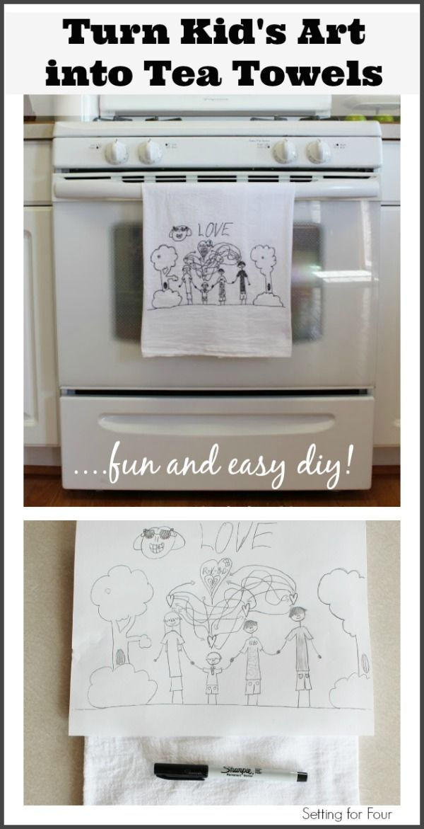 It's easy! How to Turn Kid's Art into Tea Towels! Decorate your kitchen with the kiddo's fun art creations. Great gift idea too! www.settingforfour.com