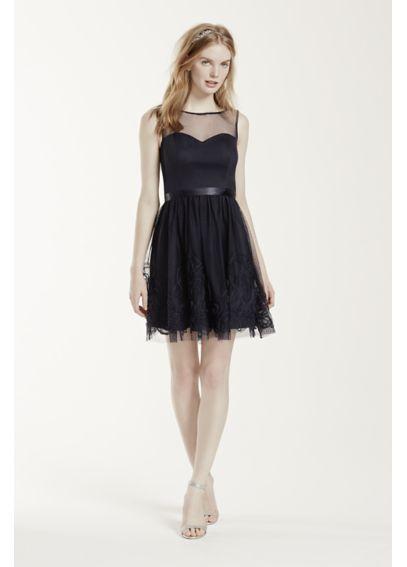 Sleeveless Illusion Neckline Dress with Satin Belt EJ4M6898 $99.95