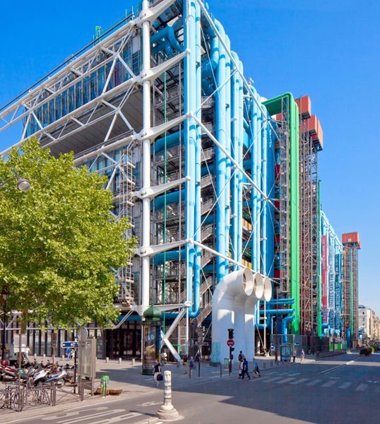 Beaubourg Quarter, Centre national d'art et de culture Georges-Pompidou, designed by Renzo Piano, Paris IV