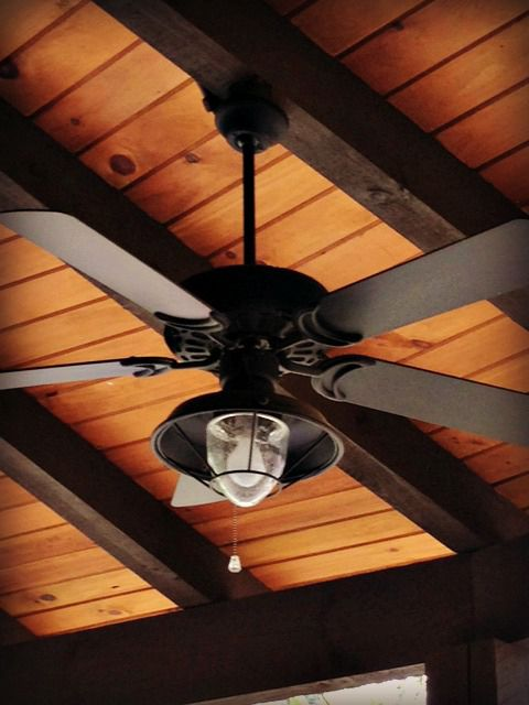 Dan's Ceiling Fans - A rich and rustic ceiling fan/light complements any outdoor space with a wood beam ceiling. | http://dansceilingfans.com/
