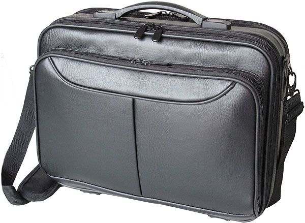 The Koskin Laptop Bag made from Koskin holds 15.6″ laptops. It comes with a retractable handle and features 4 compartments and fits onto luggage frames.