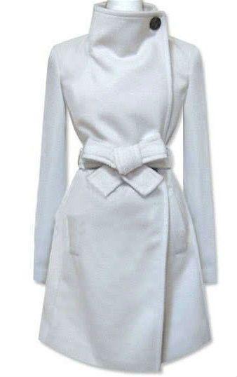 Nouveau mode femmes laine cachemire hiver Noble Long White Jacket Coat taille xs - xl