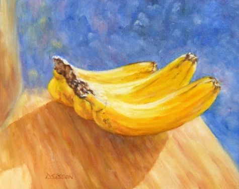 Three Bananas Oil Painting Food Art Still Life Fruit, painting by artist Debra Sisson