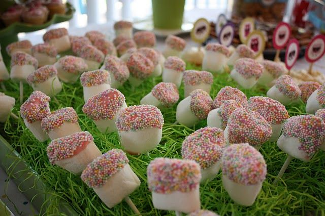 dipped in chocolate and sprinkles-looks like toadstools! perfect for a fairy party!