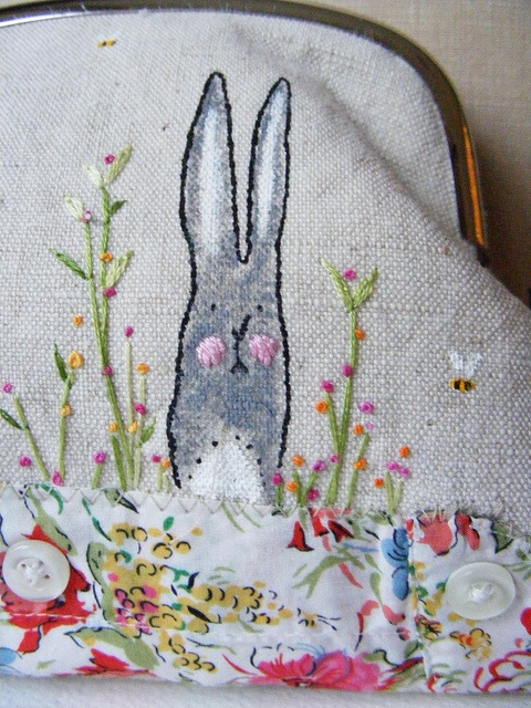 detail bunny and bees purse, hens teeth, via Flickr.
