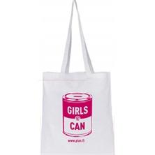 Tilaa itsellesi kevyt, valkoinen Girls Can -puuvillakassi olan yli menevillä hihnoilla.  PlanShop haluaa toimia vastuullisten toimijoiden kanssa ja kasseista on sertifikaatti, jonka mukaan mm. lapsityövoiman käyttö on kielletty ja tuotantolaitoksissa tehdään ulkopuolisten suorittamia tarkastuskäyntejä lakien ja säädösten noudattamiseksi.