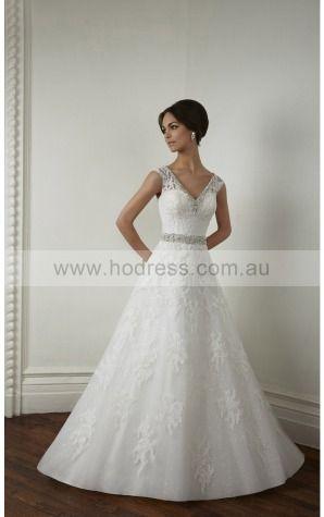 Buttons Princess Natural V-neck Wedding Dresses gycf1003--Hodress