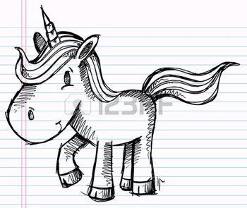 Notebook Doodle Pony Unicorn Vector Illustration Kunst photo