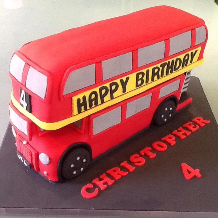 London Bus / Double Decker Cake --- my little boy's birthday is next. Buses, trains, and the Space Shuttle are his favorite things.