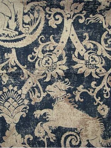 "Gryphon Indigo fabric. Linen/viscose blend French gryphon up the roll pattern. 54"" wide. 27"" repeat. via House Fabrics:"