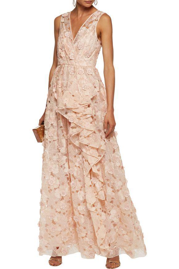BADGLEY MISCHKA Ruffled appliquéd embroidered organza gown | Fashion ...