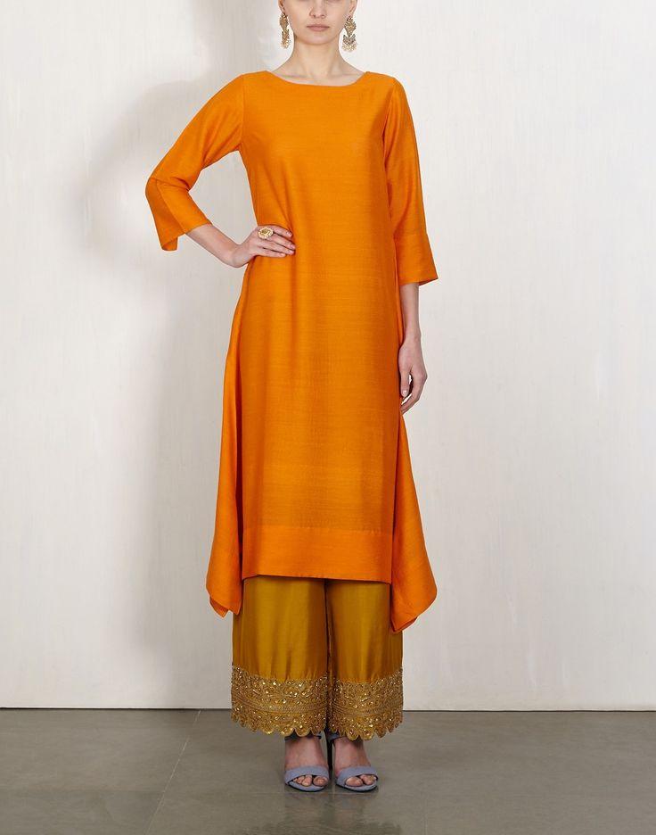 Orange Kurta With Embroidered Pants-Lajjoo C- img1