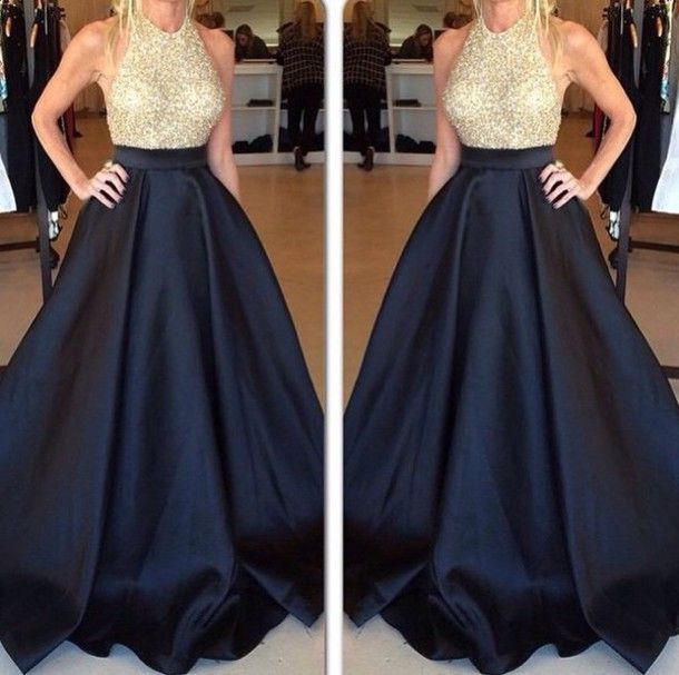 Designer Halter Sleeveless Gold Sequins And Navy Blue Satin Long Dress Prom a8cbe7d5cc55