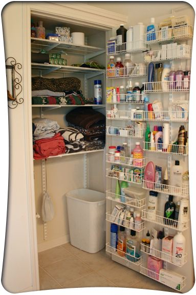Great idea for using a spice rack type storage shelf on a door for toiletries
