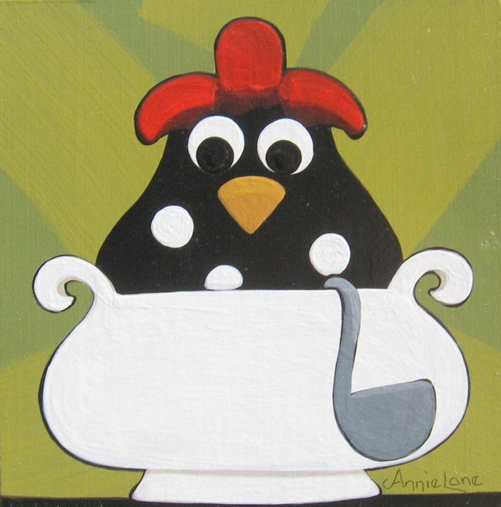 """ Chicken Soup "" Whimsical Chicken Art Painting by Annie Lane Folk Art"