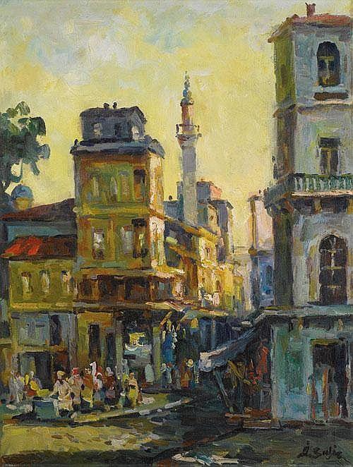 "Ibrahim SAFI (1899-1983), ""Streets of Sirkeci"","
