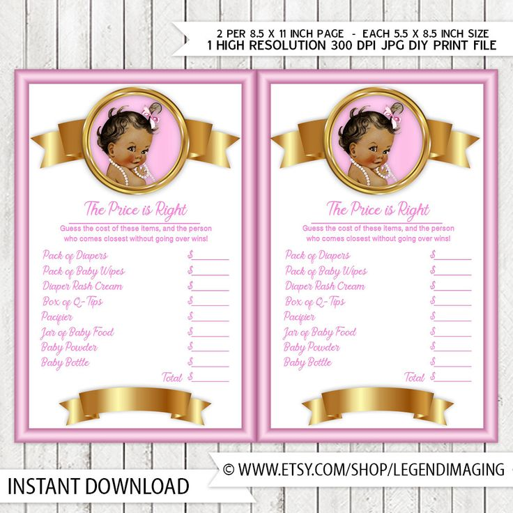 Girls Price is Right Baby Shower Game Pink Gold Pearl Ethnic Baby Girl Pink Gold Price is Right Baby Shower Game by LegendImaging on Etsy