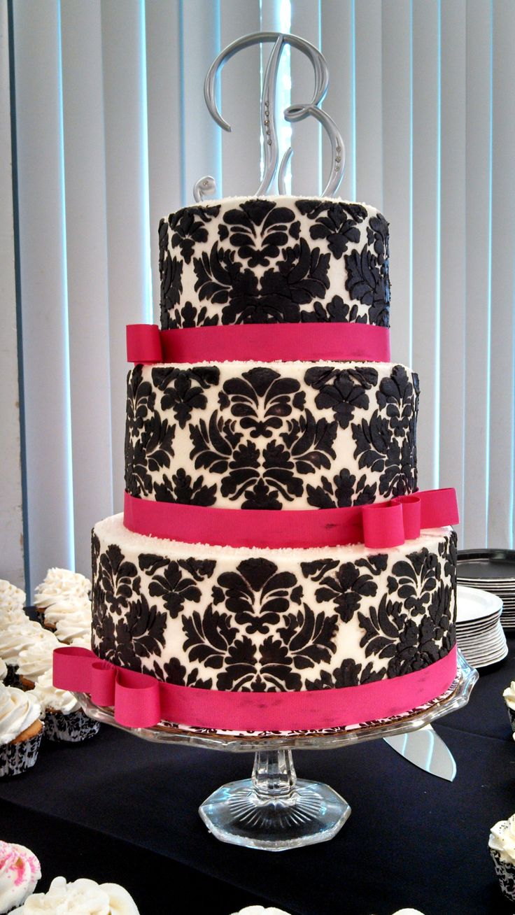 square black and white wedding cakes pictures%0A Old World style  black and white damask wedding cake  Black buttercream  damask stenciling on