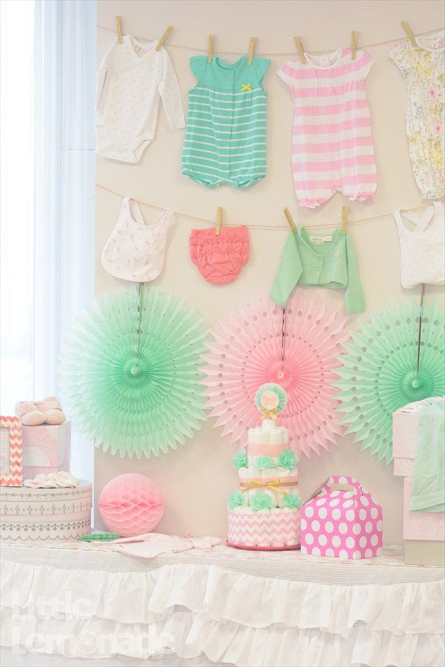 pink x mint green - butterfly Themed babyshower ベビーシャワー party designed by Little Lemonade http://little-lemonade