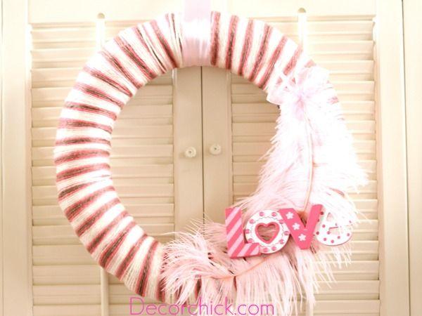 Valentine's Day Yarn WreathValentine'S Day, Valentine Crafts, Crafts Ideas, Valentine Ideas, Valentine Wreaths, Yarns Wreaths, Valentine Decor, Valentine Yarns, Yarn Wreaths