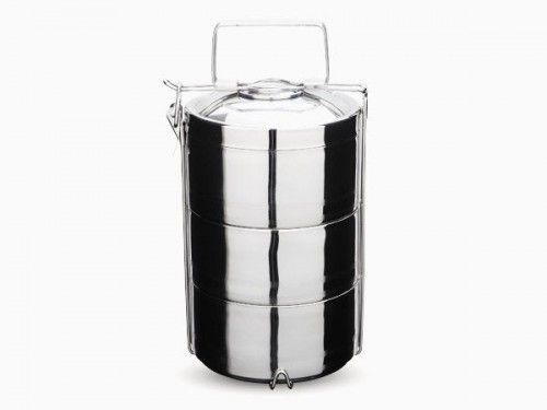 This beautiful stainless steel 3 layer tiffin food storage container will be the envy of all in your lunch room, keeping food hot or cold for hours!