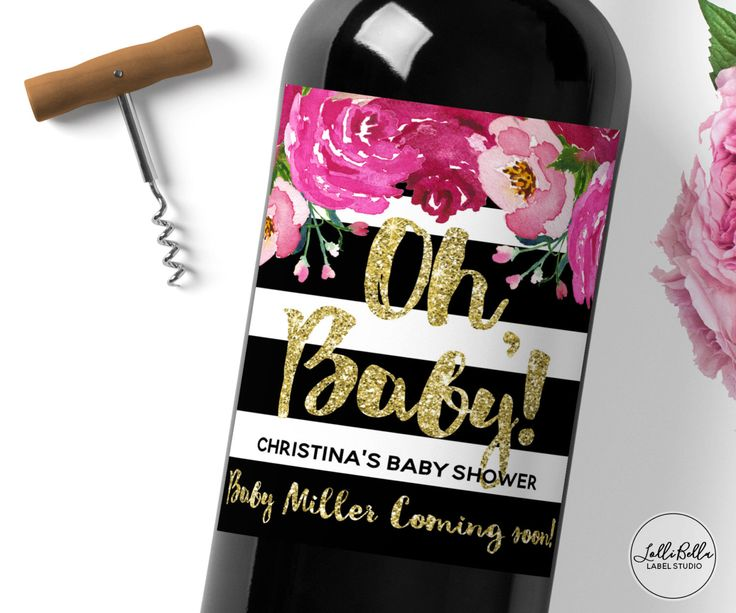 Baby Shower Wine Label, Kate Spade Themed, Baby Announcements Oh Baby, It's a Girl, Baby Announcement, Custom Wine Label, Baby Gift by LolliBella on Etsy https://www.etsy.com/listing/478150534/baby-shower-wine-label-kate-spade-themed