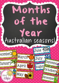 Months of the Year: Australian Seasons12 months of the year posters to hang in your class. Each month displays a corresponding picture to match the season.These months of the year posters display Australian seasons only.***This product is part of a money saving bundle!***CLICK HERE TO VIEW!Key terms:Months of the year, month of the year posters, australian seasons, Australia