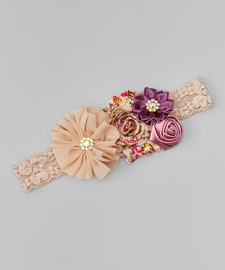 Look at this #zulilyfind! Beige & Plum Flower Lace-Band Headband by Charlotte Rose Couture #zulilyfinds