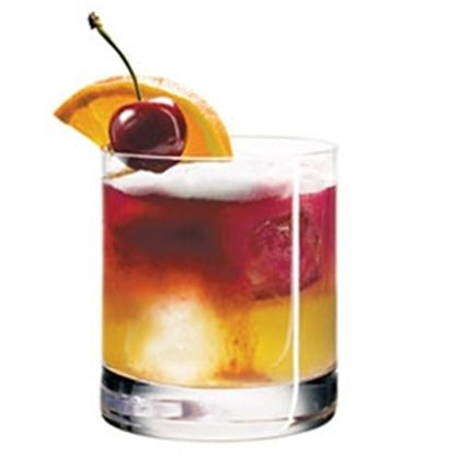 Greenwich Sour  1 3/4 ounces Wild Turkey 101 proof straight rye whiskey  3/4 ounce fresh-squeezed lemon juice  3/4 ounce simple syrup  Splash of Caparzo Brunello di Montalcino (from Italy, made with Sangiovese grapes)  Cherry  Slice of orange.