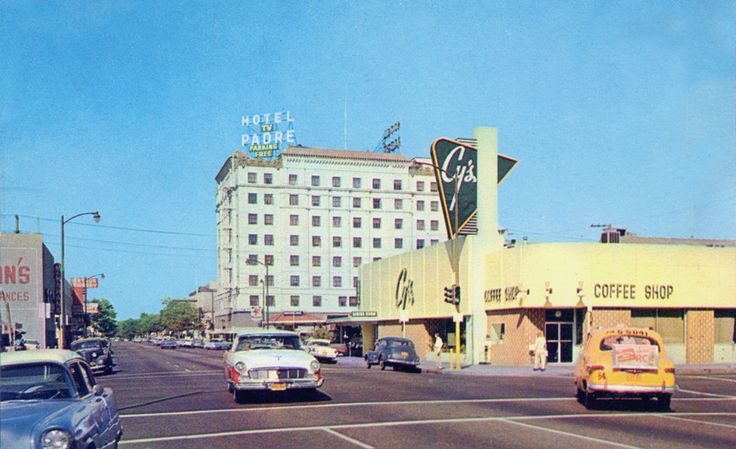 1950's, 18th street Vintage Bakersfield, California Hotel Padre, Cy's Coffee Shop Restaurant