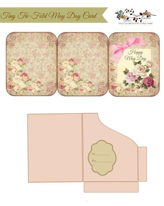 Tiny Tri-Fold May Day Card  Pocket Cards  envelopes Junk