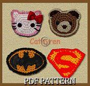 Ravelry: Appliques - Hello Kitty Head, Teddy Bear Head, Batman and Superman Logos pattern by Cathy Ren