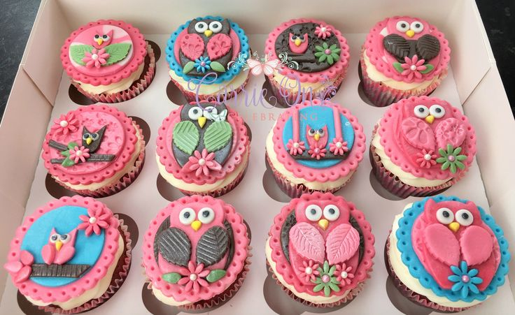 Pink Owl Birthday Cupcakes
