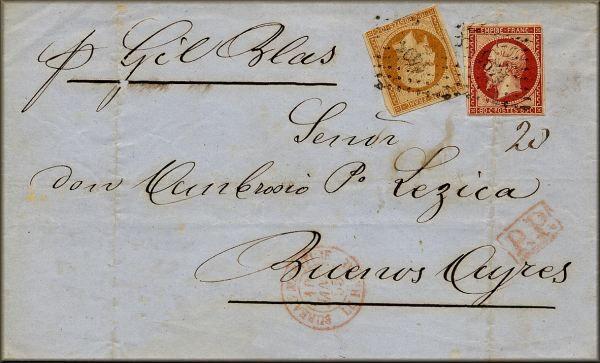 lettre ancienne avec 2 timbres poste Napoleon III (Second Empire) (graveur Barre) et 4 cachets : le Havre (Seine Maritime - France) --> Buenos Aires (Argentine) - 10/01/1855 (tarif postal triple port)