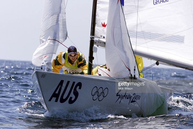 The crew of Neville Wittey,Josh Grace and David Edwards of Australia in action during the Soling Fleet Race off Sydney Heads at the Sydney 2000 Olympic Games at Rushcutters Bay Marina, Sydney Australia. X DIGITAL IMAGE. Mandatory Credit: Nick Wilson/ALLSPORT