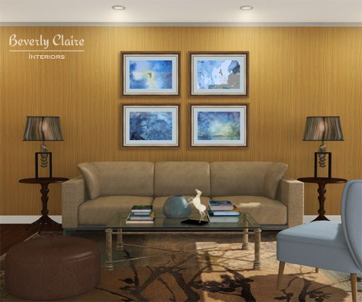 Elegant, nature-themed living room. Framed photos and room 3D visualization by Beverly Claire Kaiya on http://beverlyclaire.com