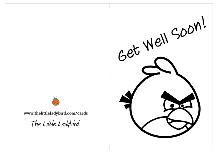 Greeting Card Get Well Soon Red Angry Bird coloring