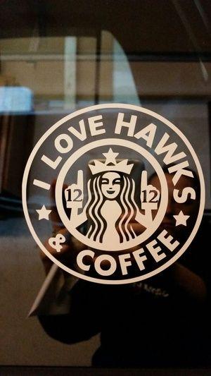 Seahawks & coffee vinyl sticker