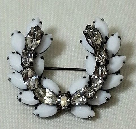 Milk Glass Sherman Brooch