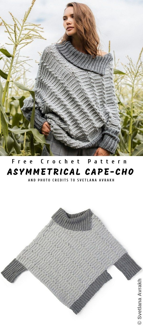 Asymmetrical Cape-Cho Sweater | Croch | Pinterest | Croché ...