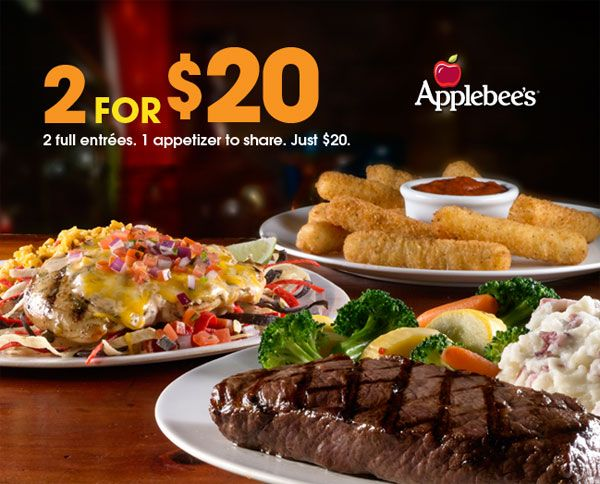 "17: I was very happy to see that Applebee's has created several discount programs, aiming that a person will not spend more than $15. The Applebee's ""2 for $20"" program has been very successful. For just $20, we got an appetizer to share, and two entrees. TGI Friday's and Ruby Tuesday's did not have similar promotions."