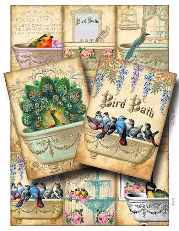 BIRD BATH Digital Collage Sheet Instant Download for Paper Crafts Cards Tags Art Project Original Whimsical Altered Art by GalleryCat CS150