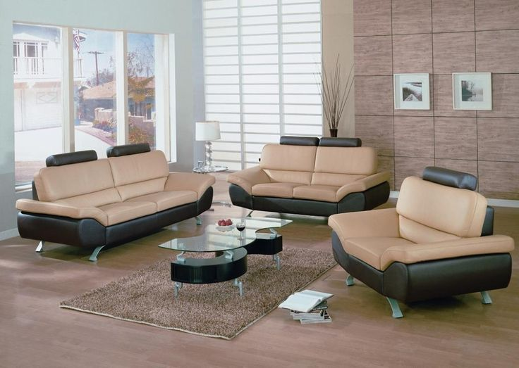 Modern Living Room Leather Sofa Sets With Unique Glass Table Interior Design