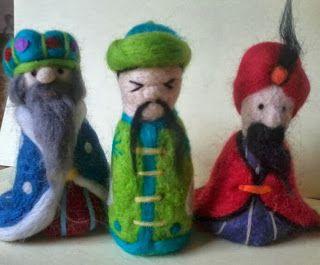 Needle felt three wise men, Christmas, needle felt ideas, nativity, handmade