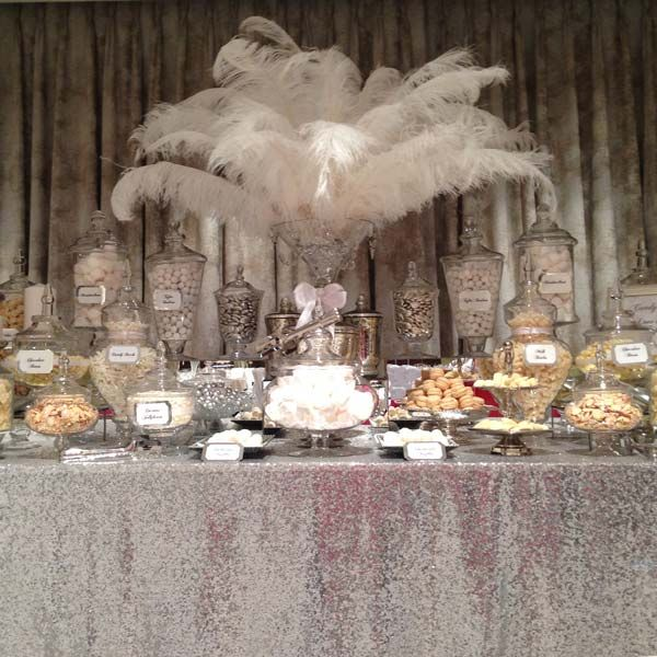 Wedding Candy Buffet in Silver and White