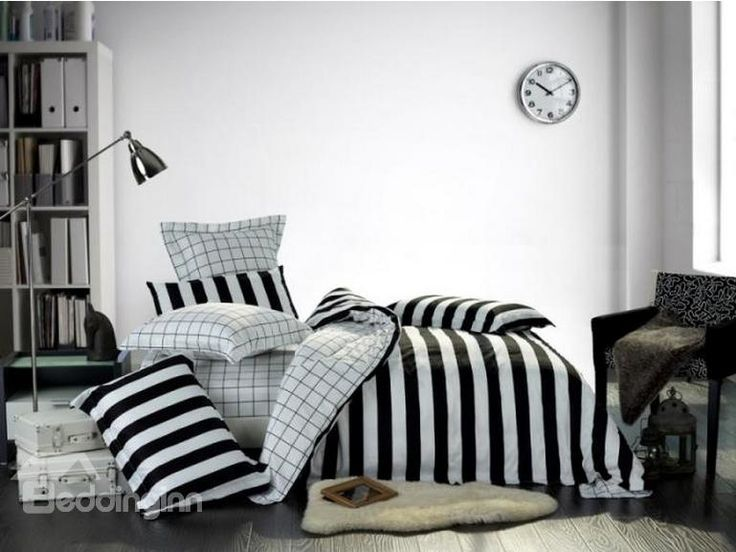 high quality cotton modern style black and white stripes print 4 piece bedding sets - Striped Sheets