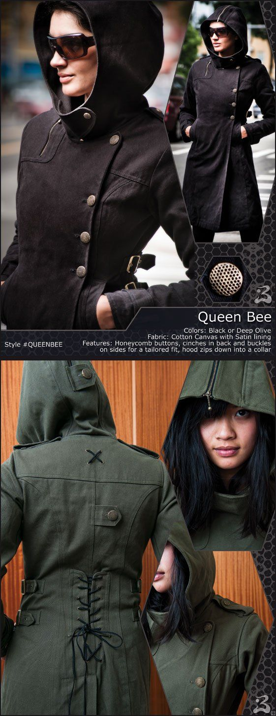 """$196 """"Queen Bee"""" The Queen Bee is a super cool coat with an urban flavor and tons of detail!  Features honeycomb buttons, a lace-up back and buckles on the sides for an adjustable fit, and a hood that zips open and down into a collar.  Made of Cotton Canvas and lined with Satin for added comfort and warmth."""