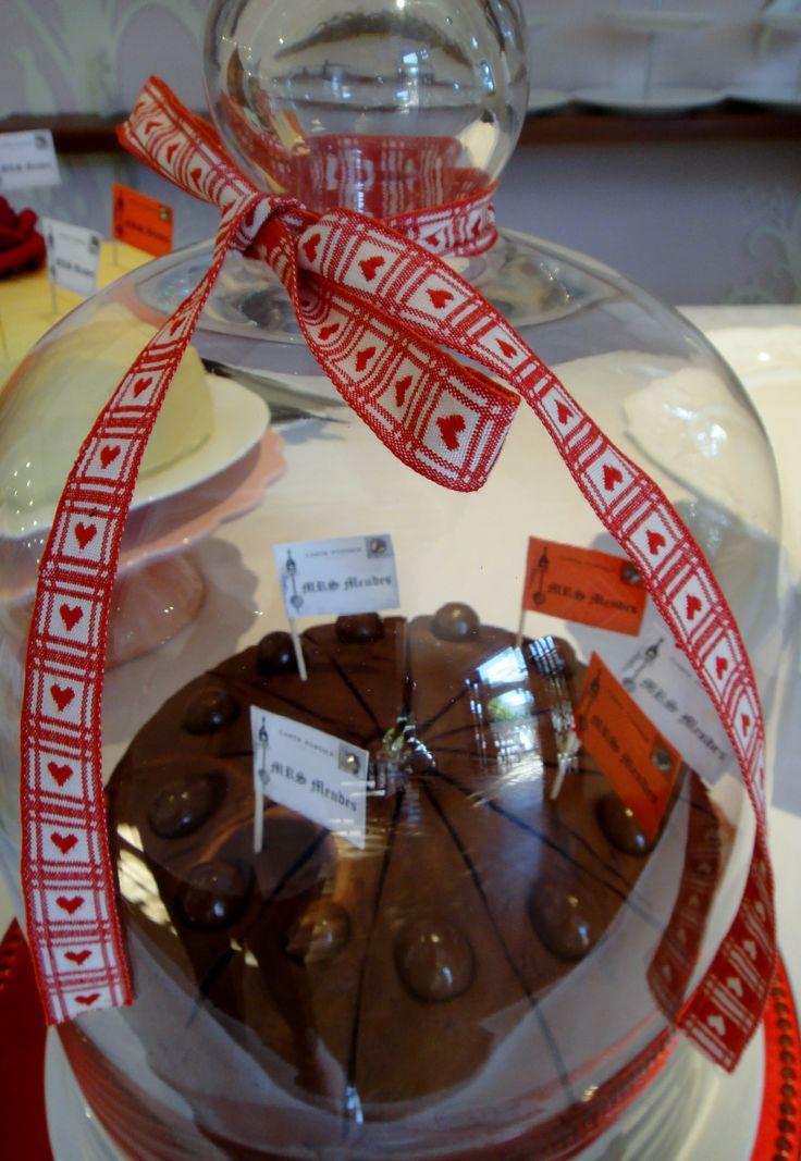Red Heart Ribbon Around Cake Dome