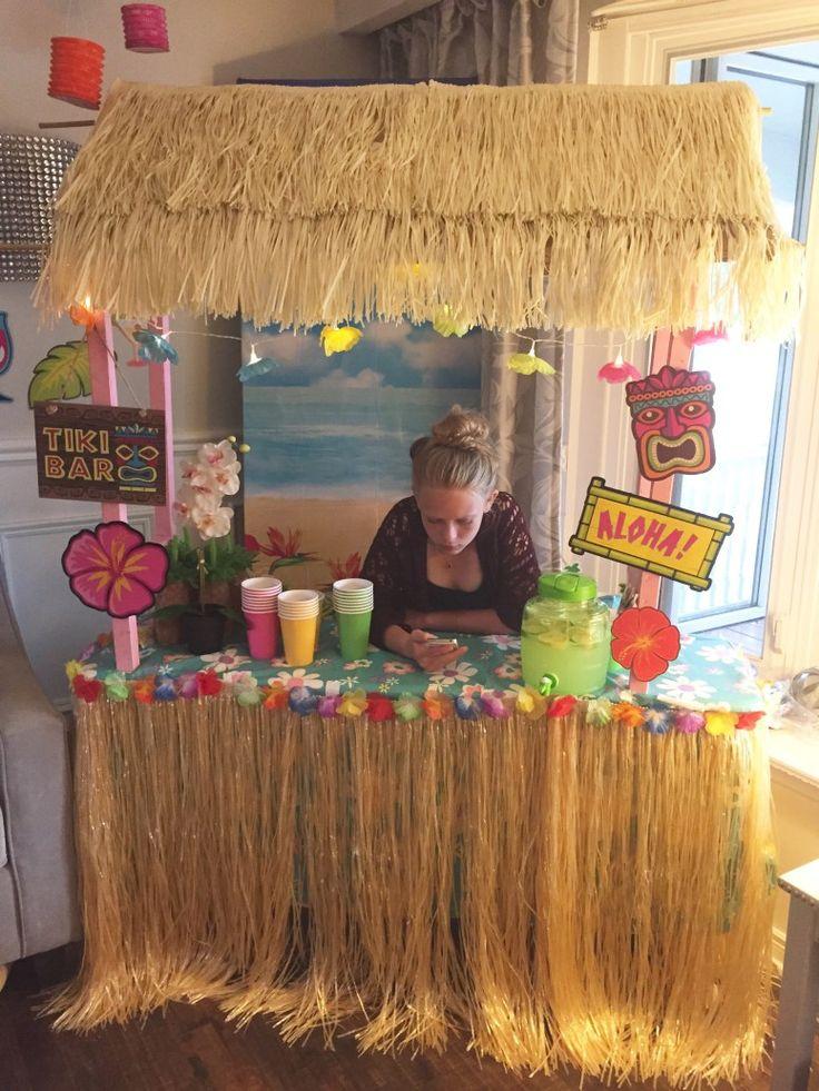 DIY Tiki Bar. How to Make your own Tiki Bar for your Luau Party. Fun Luau Party Decor at apurdylittlehouse.com